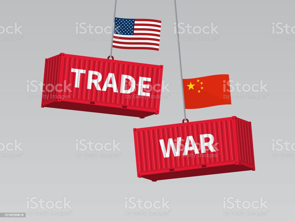 USA and China trade war concept, cargo freight containers with flag. - Векторная графика Бизнес роялти-фри