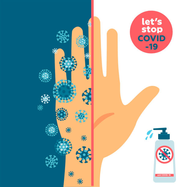 KEEP YOUR HANDS CLEAN and clean and dirty hand concept. One half is dirty hand fully with coronavirus germs and one is very clean. Banner about hygiene. Novel disease COVID-19, 2019-nCoV, MERS-Cov KEEP YOUR HANDS CLEAN and clean and dirty hand concept. One half is dirty hand fully with coronavirus germs and one is very clean. Banner about hygiene. Novel disease COVID-19, 2019-nCoV, MERS-Cov. unhygienic stock illustrations