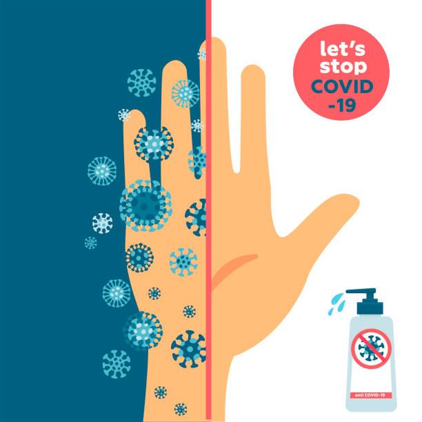stockillustraties, clipart, cartoons en iconen met houd uw handen schoon en schoon en vuile hand concept. de ene helft is vuile hand volledig met coronavirus kiemen en een is zeer schoon. banner over hygiëne. nieuwe ziekte covid-19, 2019-ncov, mers-cov - pathogeen