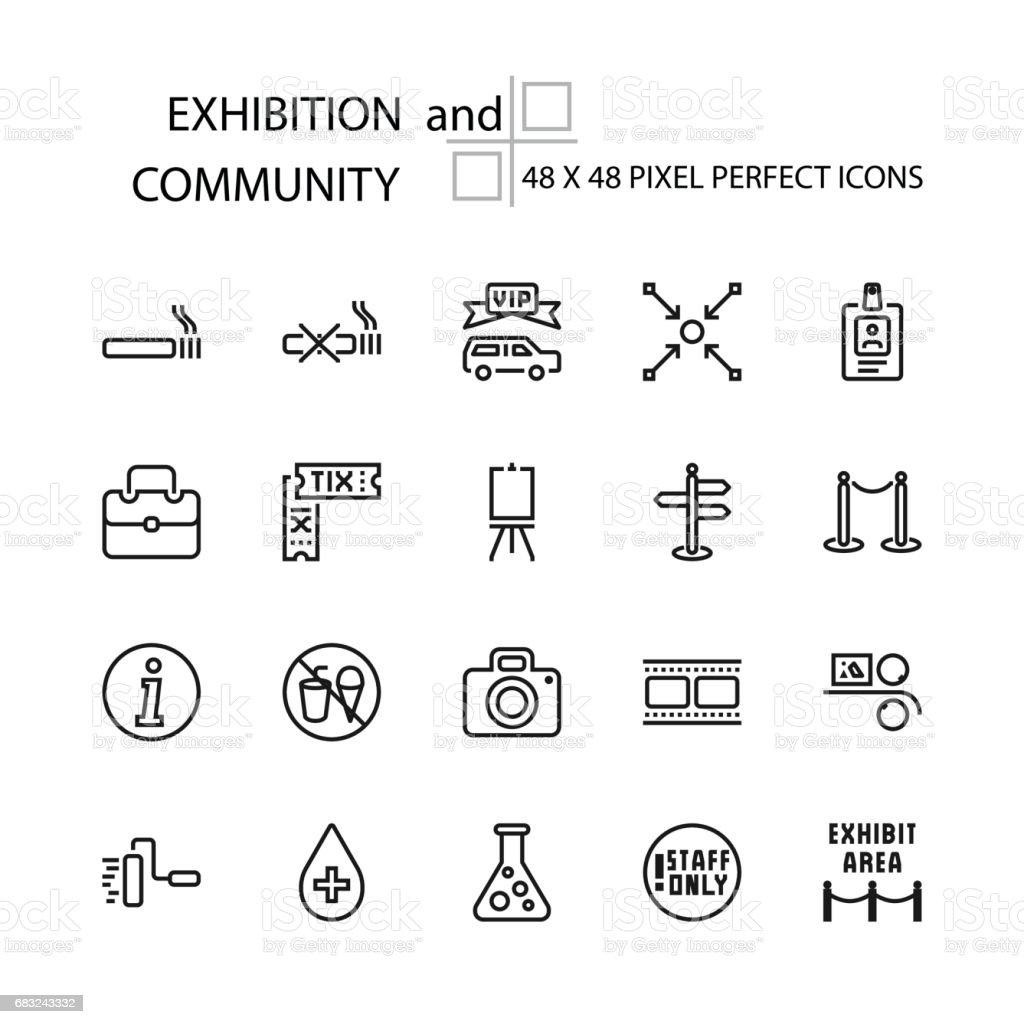 Ausstellung und Gemeinschaft Vektor Zeile 48 x 48 Pixel Perfect Icons Lizenzfreies ausstellung und gemeinschaft vektor zeile 48 x 48 pixel perfect icons stock vektor art und mehr bilder von angesicht zu angesicht