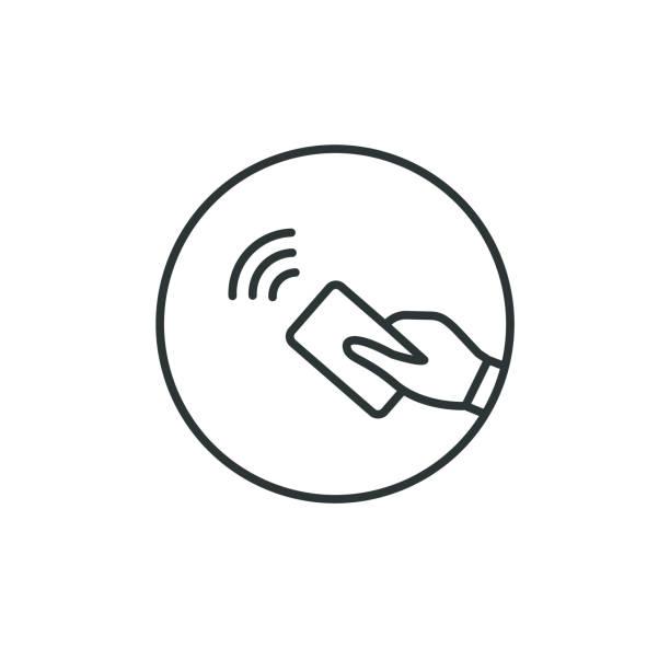ilustrações de stock, clip art, desenhos animados e ícones de nfc and contactless pay pass. hand tap pay. vector logo. - paying with card