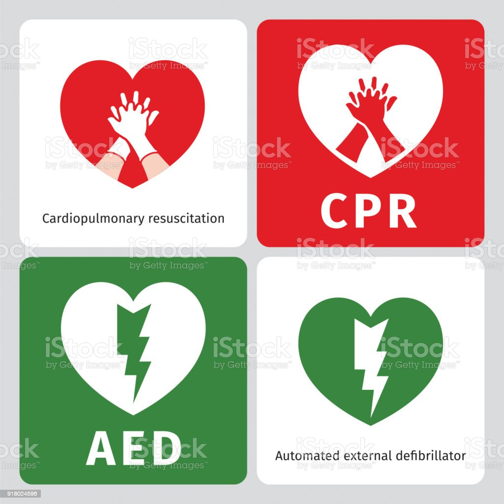 AED and CPR - emergency signs vector art illustration