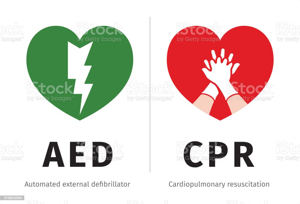 AED and CPR symbols isolated on white vector art illustration