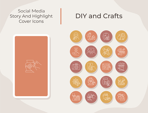 DIY and crafts social media story and highlight cover icons set