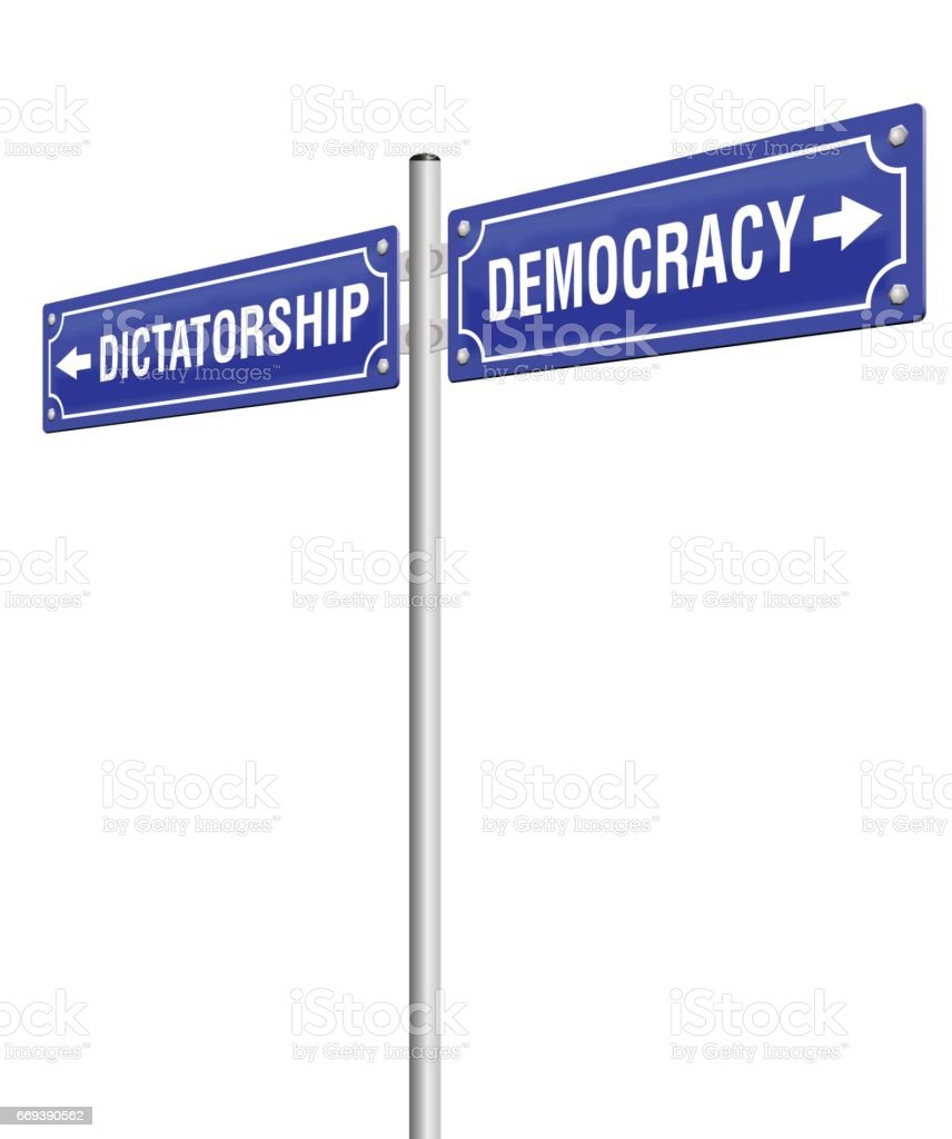 DICTATORSHIP and DEMOCRACY, written on two signposts in opposite directions. Isolated vector illustration on white background. vector art illustration