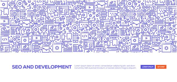 seo und entwicklung banner - webdesigner grafiken stock-grafiken, -clipart, -cartoons und -symbole