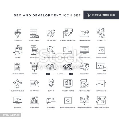 29 SEO and Development Icons - Editable Stroke - Easy to edit and customize - You can easily customize the stroke with
