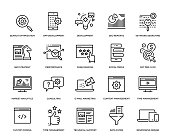 Search Engine Optimization and Development Icon Set - Thin Line Series