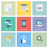 Search Engine Optimization and Development Icon Set