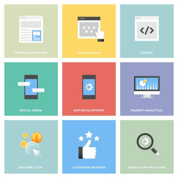 seo und entwicklung-icon-set - webdesigner grafiken stock-grafiken, -clipart, -cartoons und -symbole