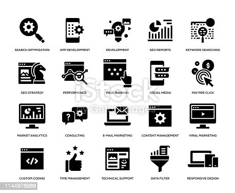 Search Engine Optimization and Development Icons