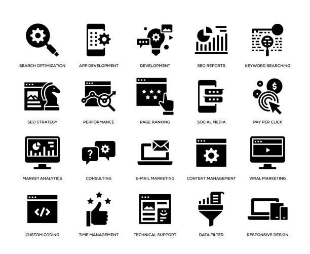 seo and development icon set - webdesigner grafiken stock-grafiken, -clipart, -cartoons und -symbole