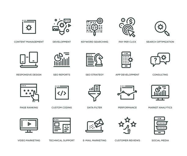 seo und entwicklung ikonen - line serie - webdesigner grafiken stock-grafiken, -clipart, -cartoons und -symbole