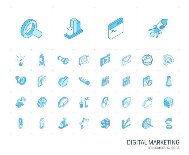 seo und digitale marktanalyse isometrische liniensymbole. 3d-vektor - isometric icons stock-grafiken, -clipart, -cartoons und -symbole
