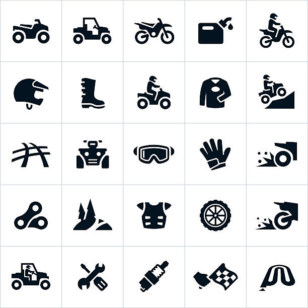 ATV, UTV and Dirt Bike Icons Icons related to the sport and recreational riding of ATVs, UTVs and Dirt Bikes. The icons include UTVs, four wheelers, dirt bikes, riders, gear, equipment, tools and equipment related to the sport. quadbike stock illustrations