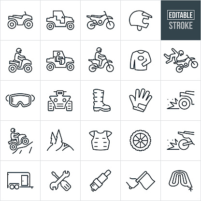 A set of ATV and dirt bike icons that include editable strokes or outlines using the EPS vector file. The icons include an ATV, UTV, dirt bike, helmet, dirt bike helmet, person riding an ATV, person riding a UTV, person riding a dirt-bike, motocross, race jersey, person doing a trick on a dirt bike, goggles, four-wheeler, riding boot, gloves, pill out, four wheeler climbing hill, dirt bike trail, protective equipment, chest protector, dirt bike wheel, enclosed trailer, tools, spark plug, race flag and a motocross track to name a few.