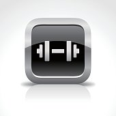 An illustration of GYM and dumbbell glossy icon for your web page, presentation, apps & design products. Black & white design and has a metal frame that makes it look dazzling. Vector format can be fully scalable & editable.