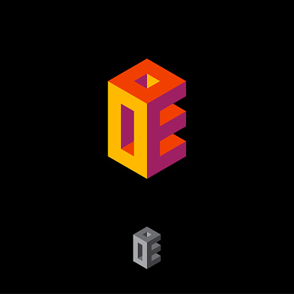 O and E letters like cube. O and E monogram. Brainteaser, typography composition. Volume, axonometric projection.