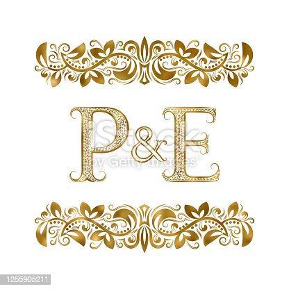 P and E vintage initials symbol. The letters are surrounded by ornamental elements. Wedding or business partners monogram in royal style.