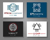 IT and engineering logo company card set. Vector business label cards with chips