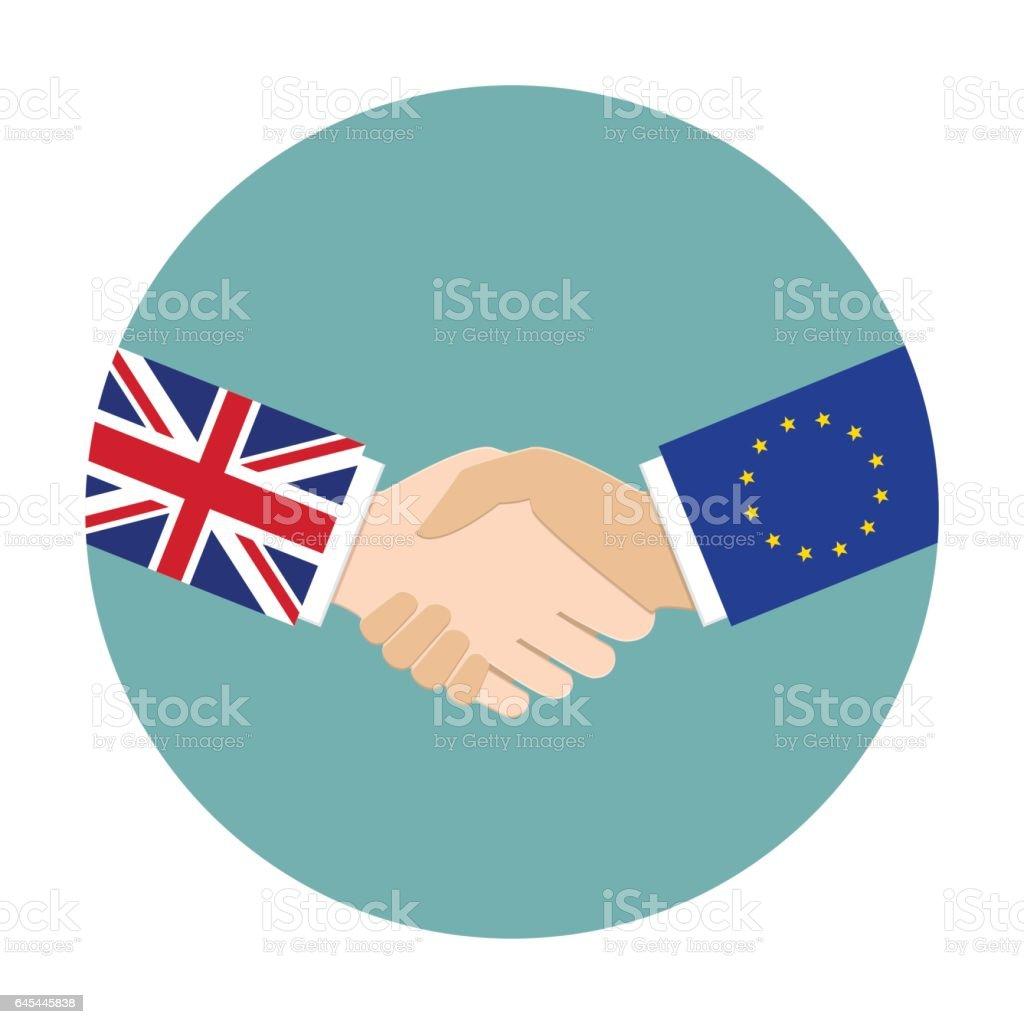 UK and EU relations vector art illustration