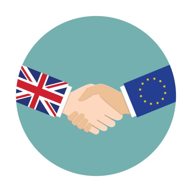 UK and EU relations UK and EU relations concept. United Kingdom and European Union shaking hands dealing cards stock illustrations
