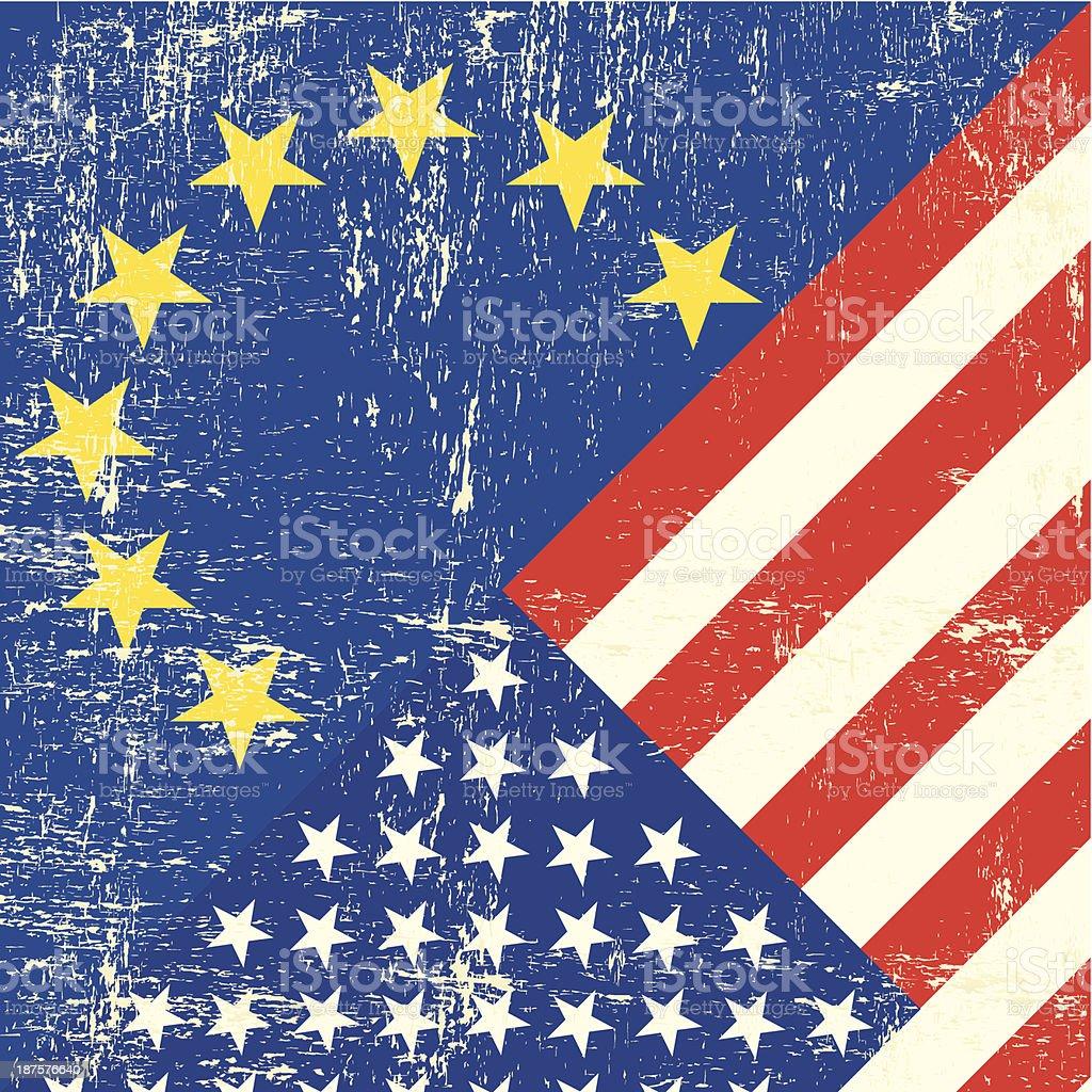 US and european grunge Flag vector art illustration