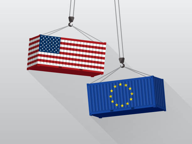 USA and European Union trade war concept, port crane lift two cargo containers. USA and European Union trade war concept, port crane lift two cargo containers. tariff stock illustrations