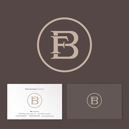 B and F classic monogram. Business card.