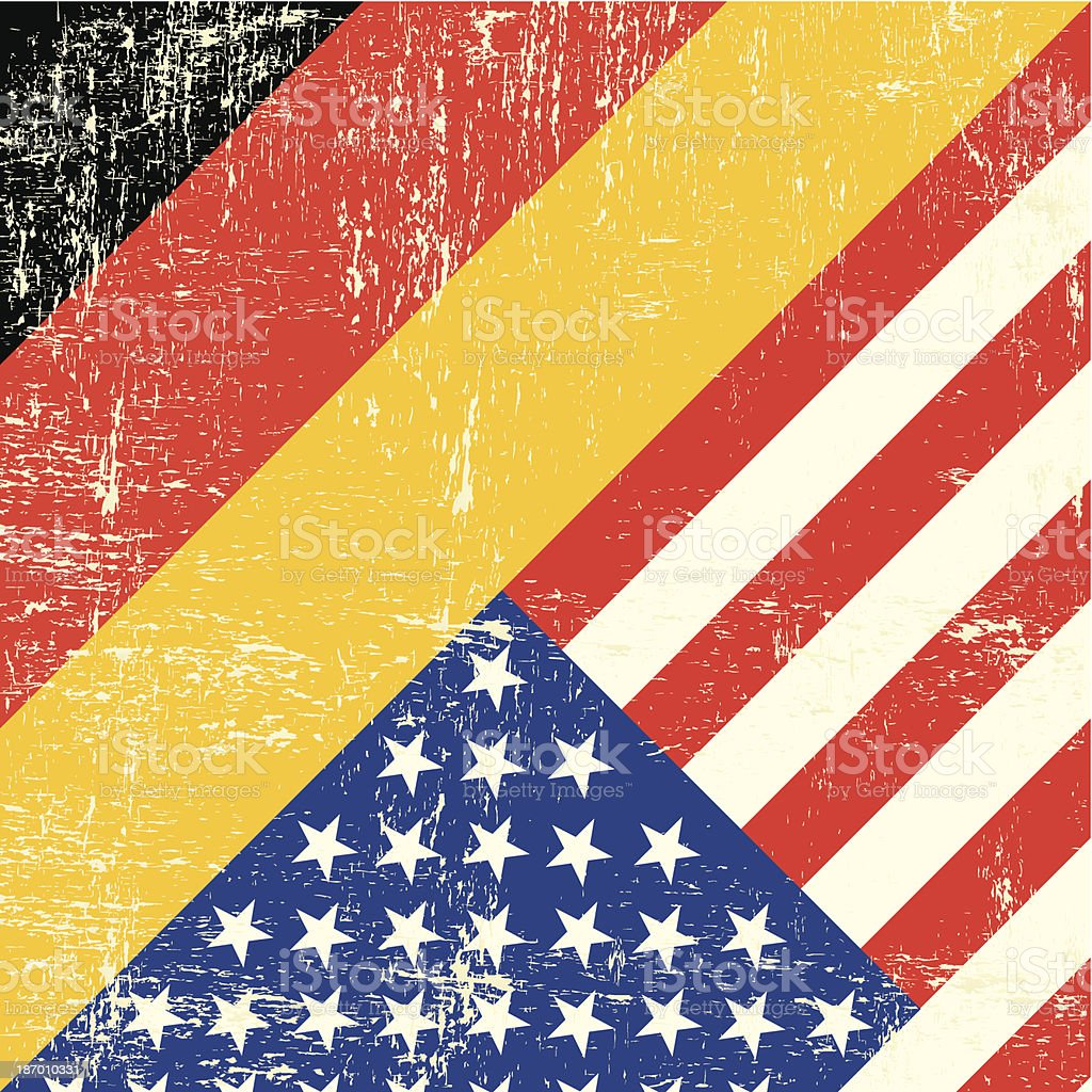 USA and german grunge Flag vector art illustration