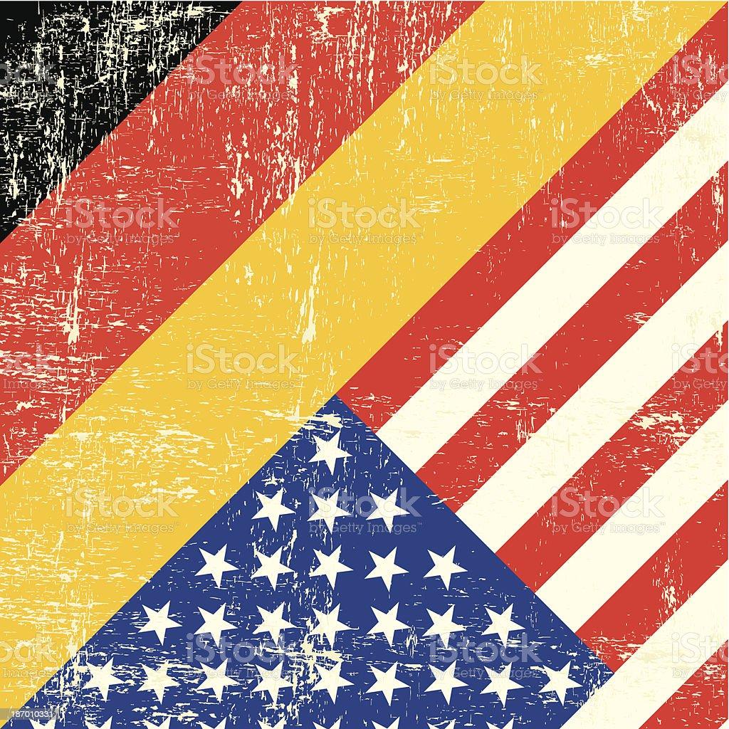 Bandera de grunge de Estados Unidos y Alemania - ilustración de arte vectorial