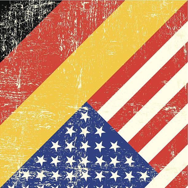 ilustraciones, imágenes clip art, dibujos animados e iconos de stock de bandera de grunge de estados unidos y alemania - bandera alemana