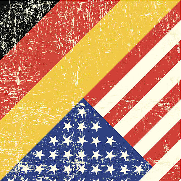 USA and german grunge Flag vector art illustration