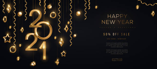 2021 and gold 3d baubles Christmas and New Year banner with hanging gold 3d baubles and 2021 numbers on black background. Vector illustration. Winter holiday geometric decorations and streamers. Place for text happy new year 2021 stock illustrations