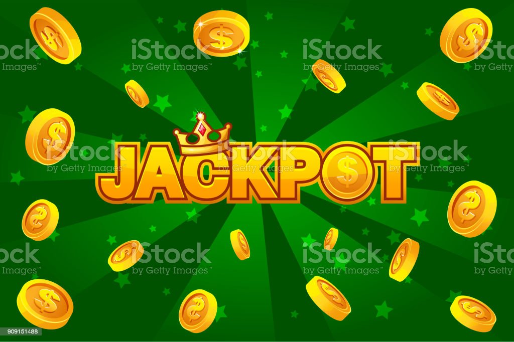 JACKPOT and gold coins on green backgroundon, For Ui Game element vector art illustration