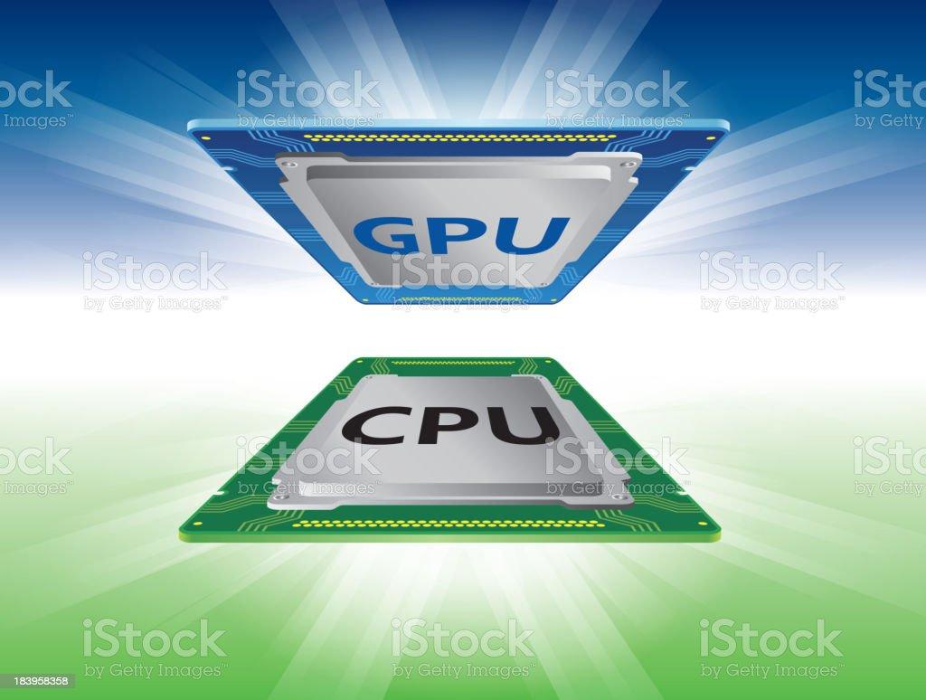 CPU and GPU royalty-free stock vector art