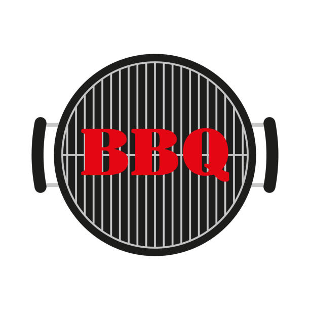 BBQ and grill icon. Vector illustration. BBQ and grill icon. Vector illustration. cooking borders stock illustrations