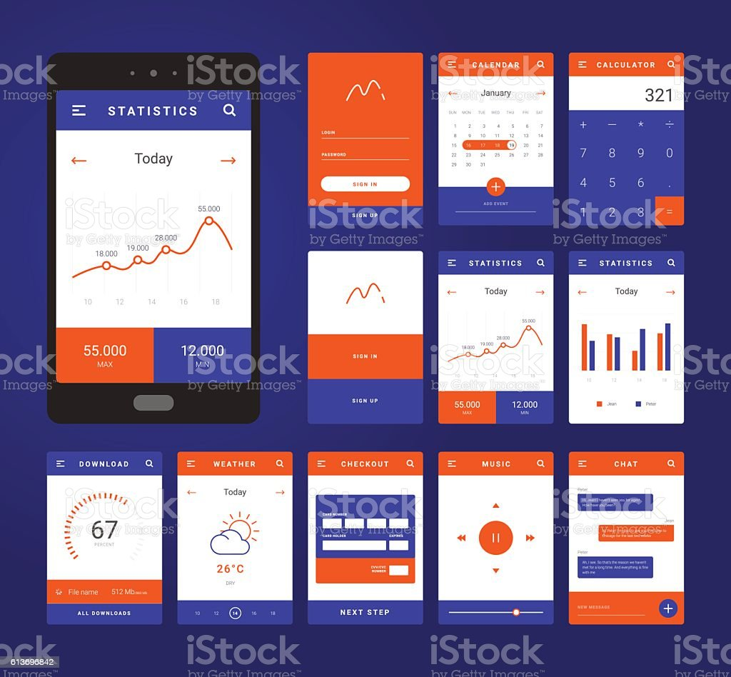 Ui Ux And Gui Template Layout For Mobile Apps Stock Vektor Art und ...