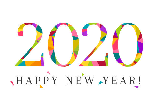2020 and Happy New Year in colorful low poly design 2020 and Happy New Year concept made in colorful and modern low poly design. Creative lettering and typography isolated on white background. new years day stock illustrations