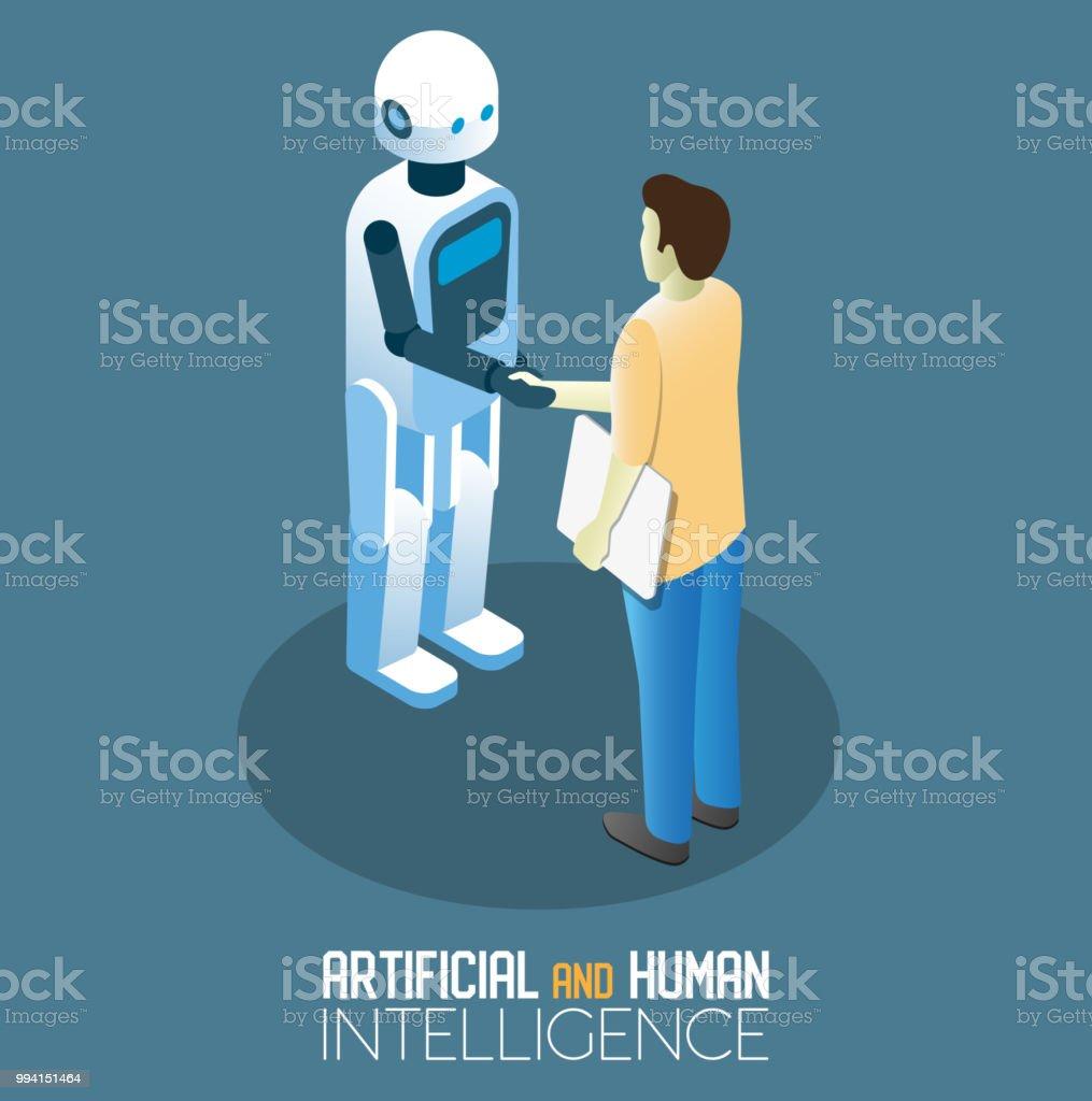 AI y concepto humano vector ilustración isométrica - arte vectorial de Abstracto libre de derechos