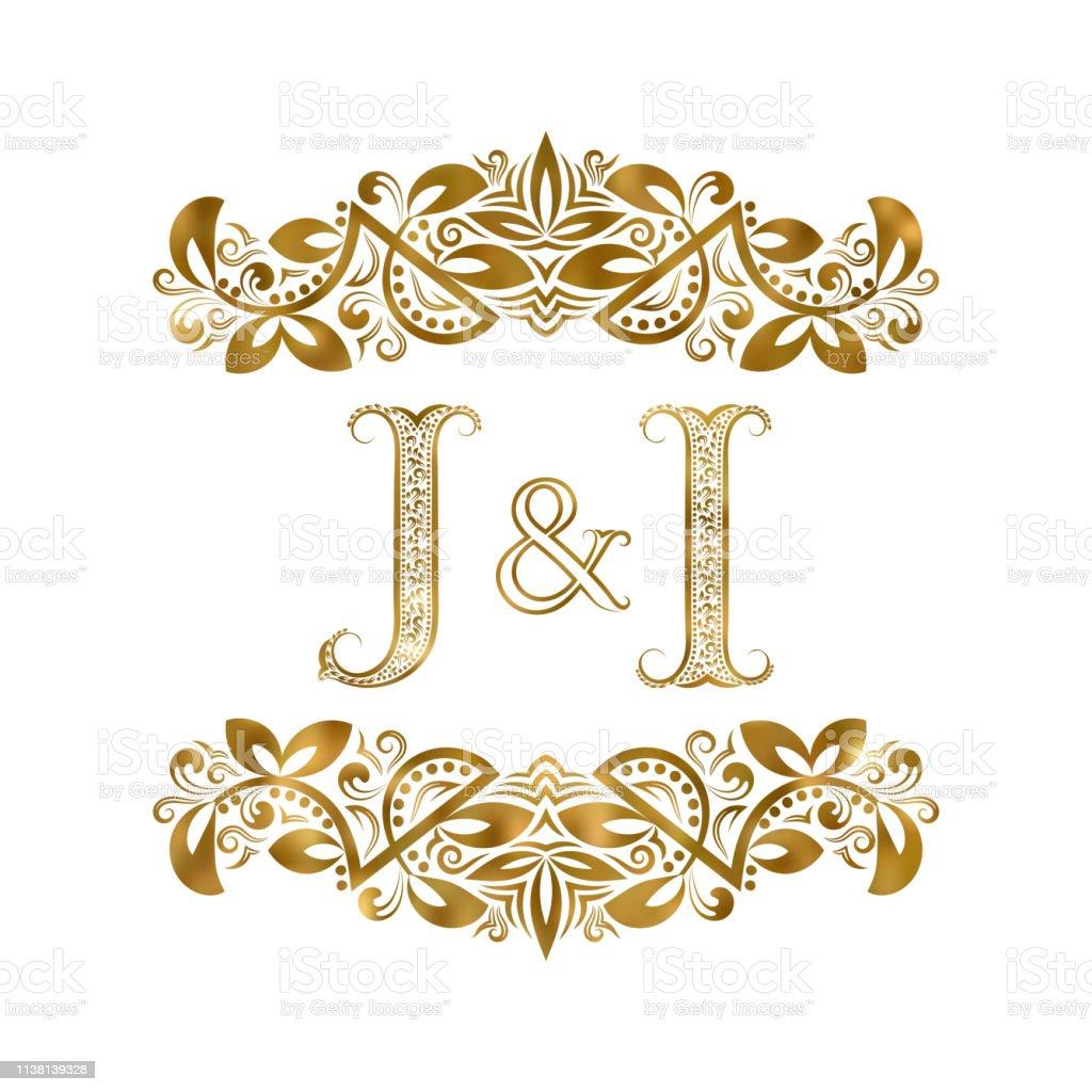 Vetores De J E Eu Simbolo Iniciais Do Vintage As Letras Sao Rodeadas Por Elementos Ornamentais Monograma Do Casamento Ou Dos Socios De Negocio No Estilo Real E Mais Imagens De Abstrato