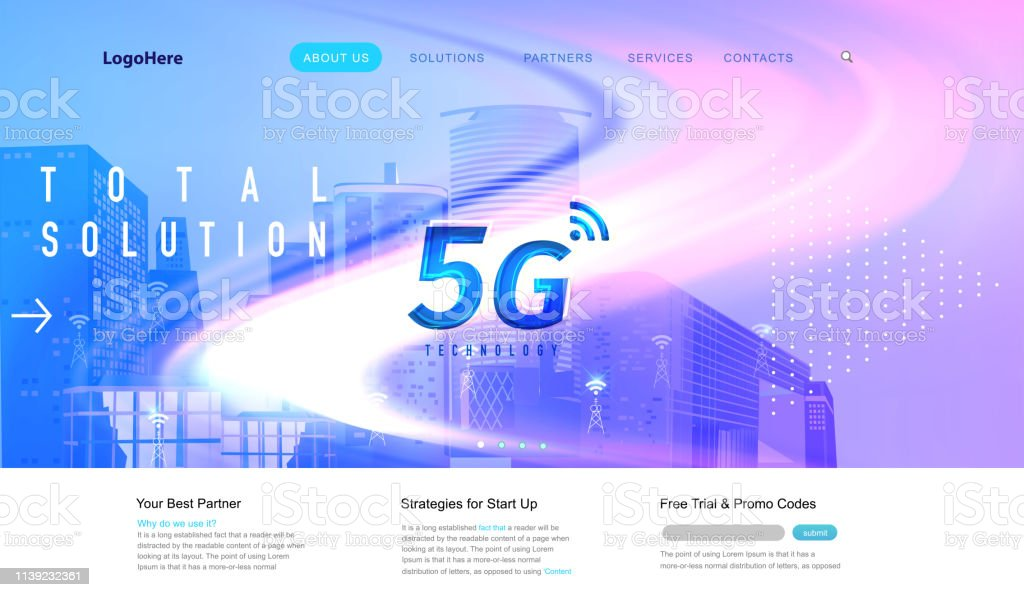 5g And Iot Landing Page With Digital Communication Future
