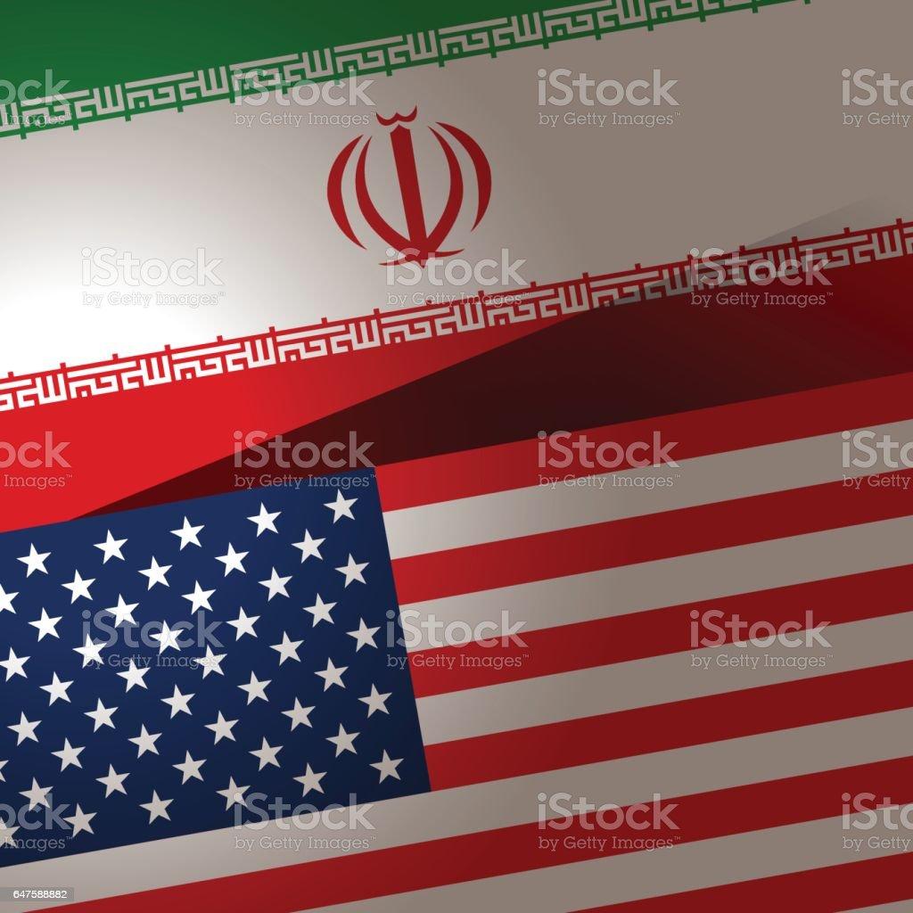 EUA e Irã bandeira de fundo - ilustração de arte em vetor