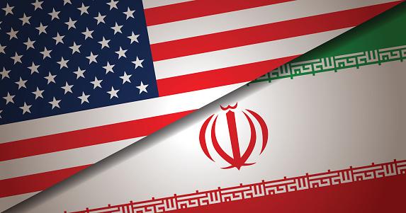 USA and Iran Flag background