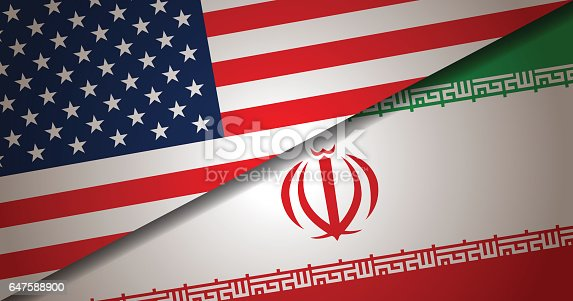 Vector background of USA and Iran flag. This illustration is an EPS 10 file with contains transparency effects.
