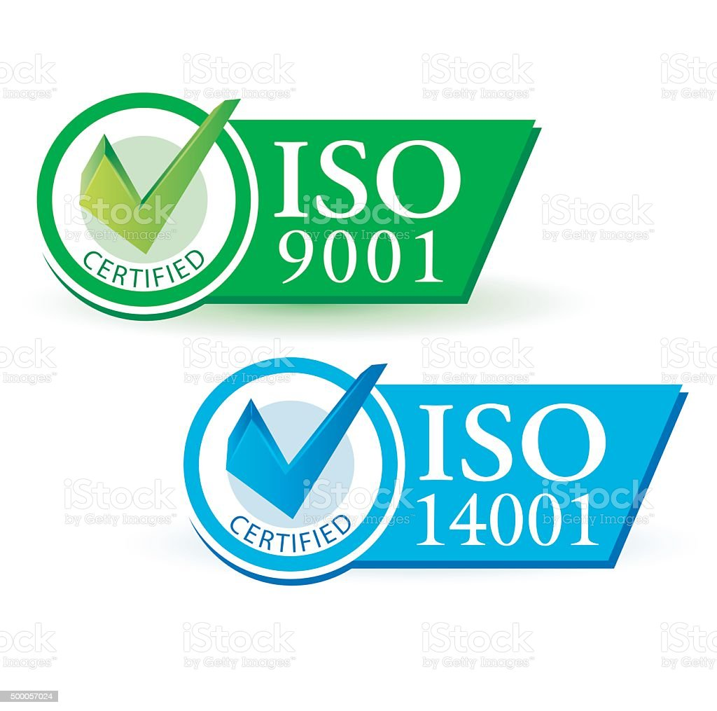 ISO 9001 and ISO 14001 vector art illustration