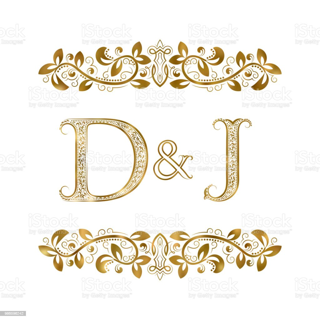 D And J Vintage Initials Emblem The Letters Are Surrounded By Ornamental Elements Wedding