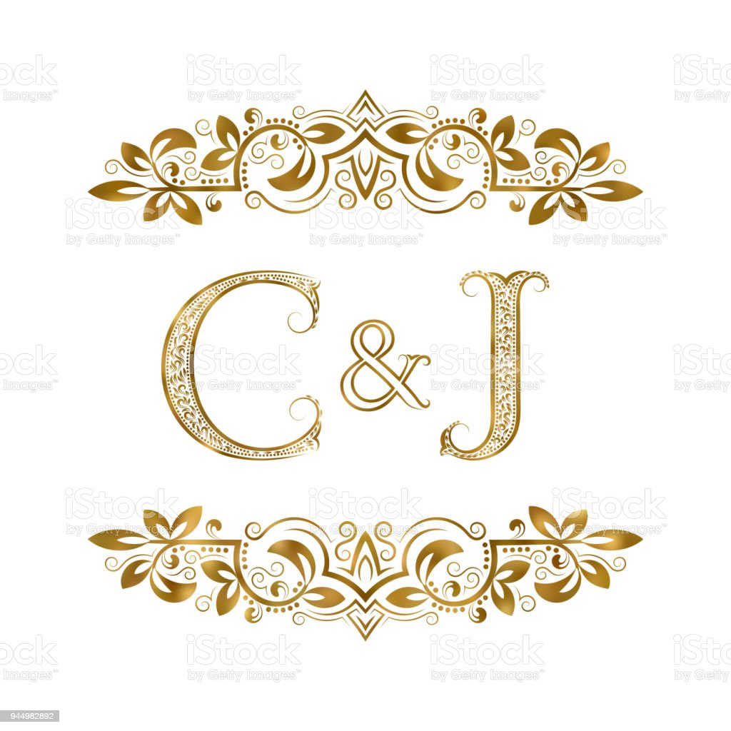 C And J Vintage Initials Symbol Letters Ampersand Surrounded Floral Ornament