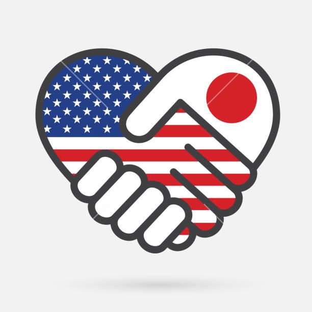 USA and Japan Heart handshake Icon vector art illustration