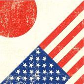 USA and japanese grunge Flag